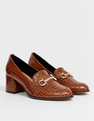 Asos DESIGN Stirrup heeled loafers in conker croc