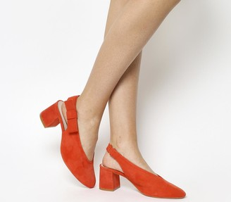 Office Magical Bow Slingback Heels Red Suede