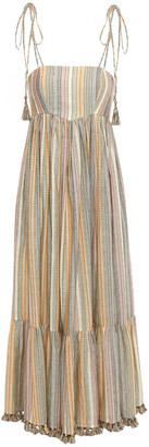 Zimmermann Tasseled Metallic Striped Cotton-blend Midi Dress