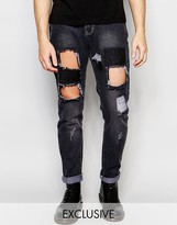 Liquor & Poker Straight Distressed Patch Jeans in Washed Black