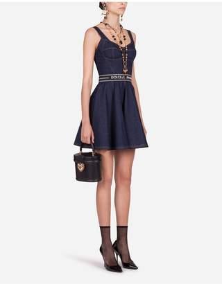 Dolce & Gabbana Short Denim Circle-Skirt Dress With Belt
