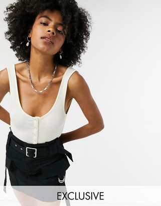 Reclaimed Vintage inspired button front bodysuit in white