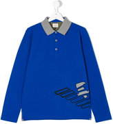 Armani Junior printed long sleeve polo shirt - kids - Cotton/Spandex/Elastane - 14 yrs