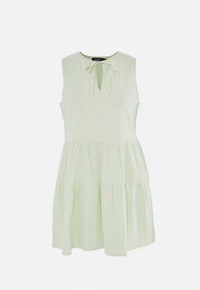 Missguided Tall Mint Textured Sleeveless Tiered Smock Dress