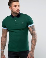 Fred Perry Slim Fit Colour Block Polo Shirt Green