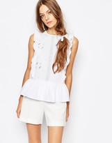 Paul & Joe Paul and Joe Sister Lace Cutwork Frill Front Embroidered Sleeveless Smock Top