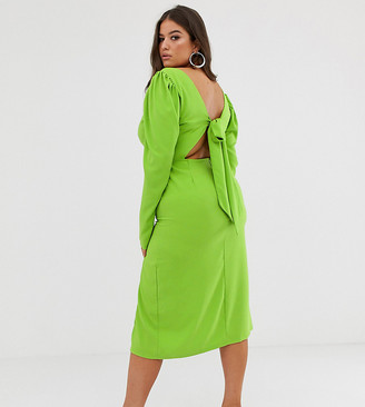 John Zack Plus long sleeve midi dress with open back in neon green-Yellow
