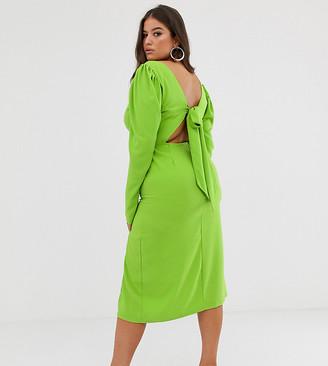 John Zack Plus long sleeve midi dress with open back in neon green