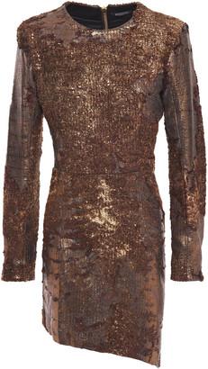 Balmain Asymmetric Metallic Coated Shearling Mini Dress