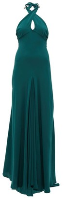 Julie De Libran - Julia Crossover-halterneck Silk Gown - Dark Green