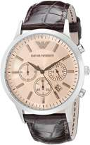 Emporio Armani Men's AR2433 Chronograph Stainless Steel and Leather Dial Watch