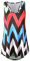 Q&Y Women's Racer Back Zig-Zag Tank Top Loose Sleeveless Tunic T-shirt Blousen XL