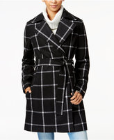 Tommy Hilfiger Windowpane Belted Walker Coat, Only at Macy's