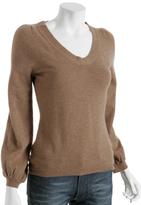 camel virgin wool v-neck sweater
