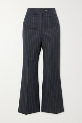 ALEXACHUNG E.vill Boy Pinstriped Woven Flared Pants - Navy