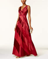 Adrianna Papell Petite Striped Satin Ball Gown