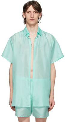 Ludovic de Saint Sernin Blue Silk Go To Short Sleeve Shirt