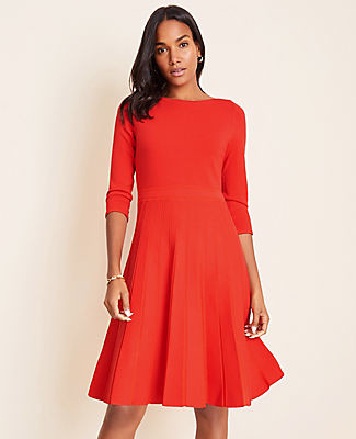 Ann Taylor Petite Pleated Flare Sweater Dress