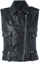 Diesel sleeveless biker jacket - women - Sheep Skin/Shearling/Polyester - S