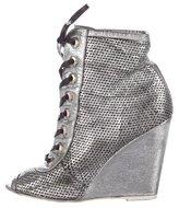 Chanel Metallic Wedge Booties