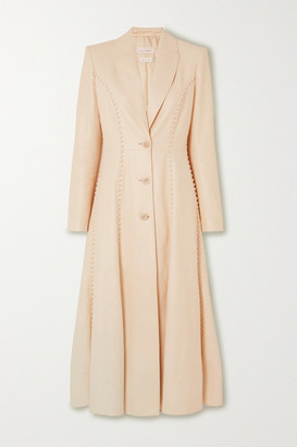 Alexander McQueen Whipstitched Leather Coat - Cream