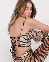 Jagger & Stone bustier top in tiger print co-ord