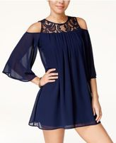 Heart And Soul Juniors' Cold-Shoulder Chiffon Dress
