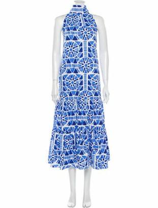 Stella Jean Printed Midi Length Dress Blue