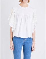 Chloé Crinkle-sleeved jersey t-shirt