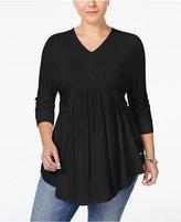 Melissa McCarthy Plus Size Dolman-Sleeve Peplum Top