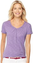 Hanes Women`s Short-Sleeve Shirred V-Neck Tee, 9333, XL