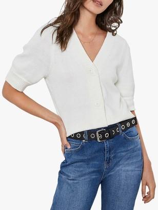 Mint Velvet Short Sleeve V-Neck Cardigan, White