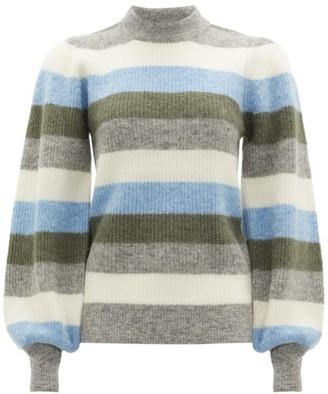 Ganni Balloon-sleeve Striped Wool-blend Sweater - Womens - Blue Multi
