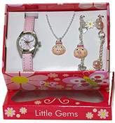 Ravel 'Little Gemz' Piggy Pig Jewellery Set Girl's Quartz Watch with White Dial Analogue Display and Pink Plastic Strap R2222