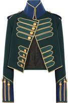 Burberry Embellished Cropped Wool Jacket - Forest green