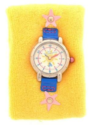 Lulu Castagnette 38186 Childrens Watch Quartz Analogue White Dial Yellow Terry Cloth Strap