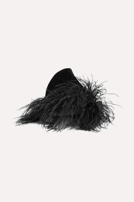 Gigi Burris Millinery Marie Feather-trimmed Rabbit-felt Hat - Black