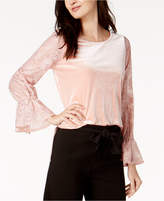 Kensie Lace-Sleeve Velvet Top