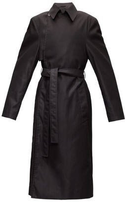 Balenciaga Exaggerated-shoulder Cotton-twill Trench Coat - Black