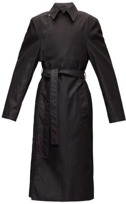 Balenciaga Exaggerated-shoulder Cotton-twill Trench Coat - Mens - Black