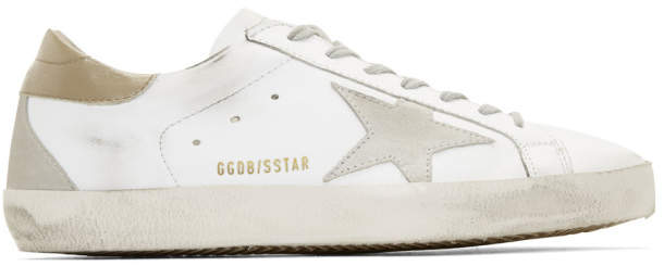 Golden Goose White and Brown Superstar Sneakers