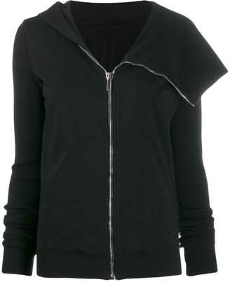 Rick Owens asymmetric zip-through hooded cardigan