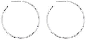 Argentovivo Sterling Silver Large Hammered Hoop Earrings