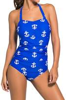 Min Qiao Women's Vintage Anchor Print Halter One Piece Push Up Sheath Swimsuit Swimwear Bikini