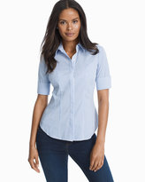White House Black Market Elbow Sleeve Yarn Dye Stripe Poplin Shirt