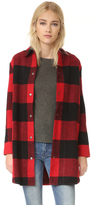 BB Dakota Olive Buffalo Plaid Oversized Coat