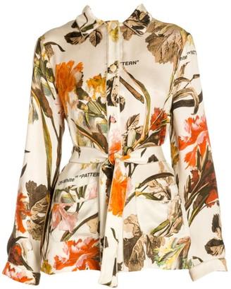 Off-White Floral Satin Pajama Shirt