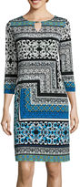 Tiana B 3/4-Sleeve Print Keyhole Shift Dress