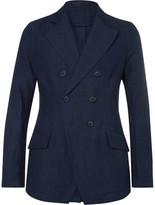 Giorgio Armani Blue Slim-Fit Double-Breasted Cotton and Linen-Blend Blazer