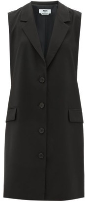 MSGM Sleeveless Single-breasted Tailored Wool Dress - Black